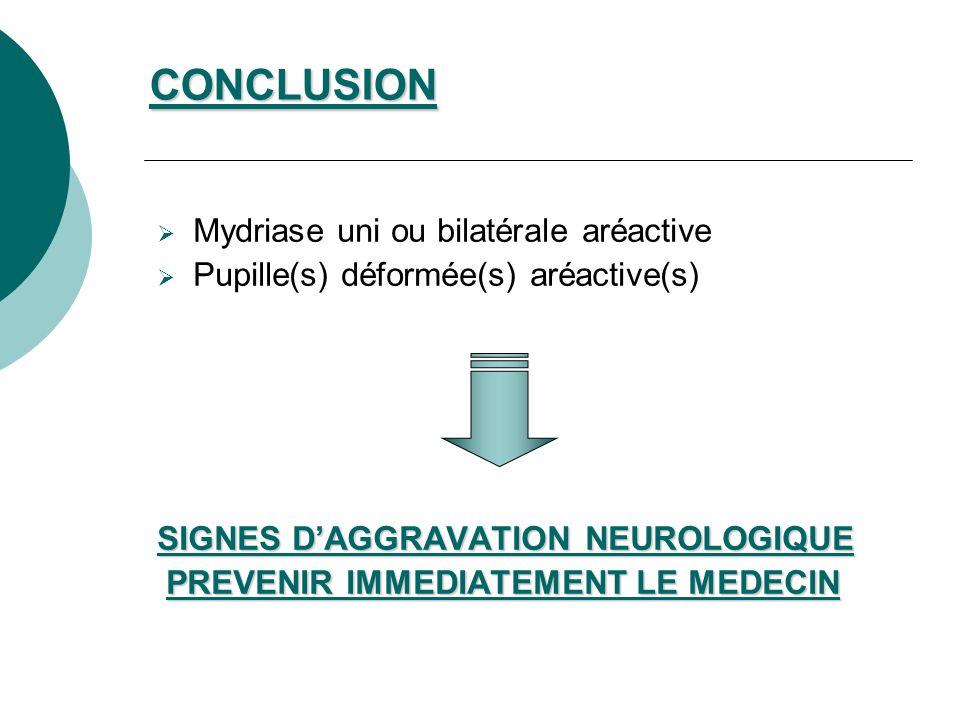 Mydriase uni ou bilatérale aréactive Pupille(s) déformée(s) aréactive(s) SIGNES DAGGRAVATION NEUROLOGIQUE PREVENIR IMMEDIATEMENT LE MEDECIN PREVENIR I