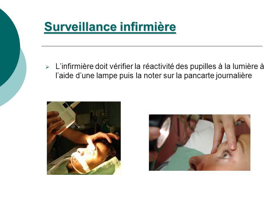 Surveillance infirmière Linfirmière doit vérifier la réactivité des pupilles à la lumière à laide dune lampe puis la noter sur la pancarte journalière