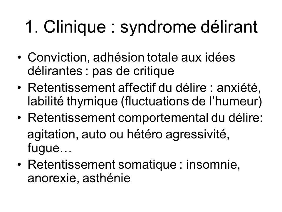 1.Clinique : syndrome délirant Cas clinique Melle B, 19 ans, adressée aux urg par son MT.