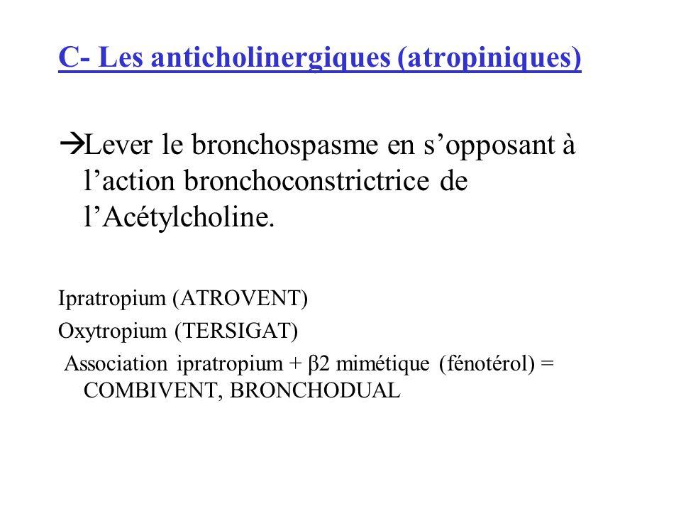 C- Les anticholinergiques (atropiniques) Lever le bronchospasme en sopposant à laction bronchoconstrictrice de lAcétylcholine. Ipratropium (ATROVENT)