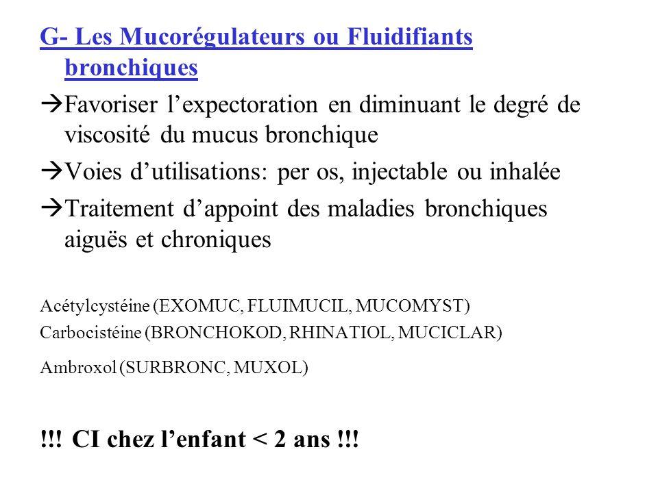 G- Les Mucorégulateurs ou Fluidifiants bronchiques Favoriser lexpectoration en diminuant le degré de viscosité du mucus bronchique Voies dutilisations