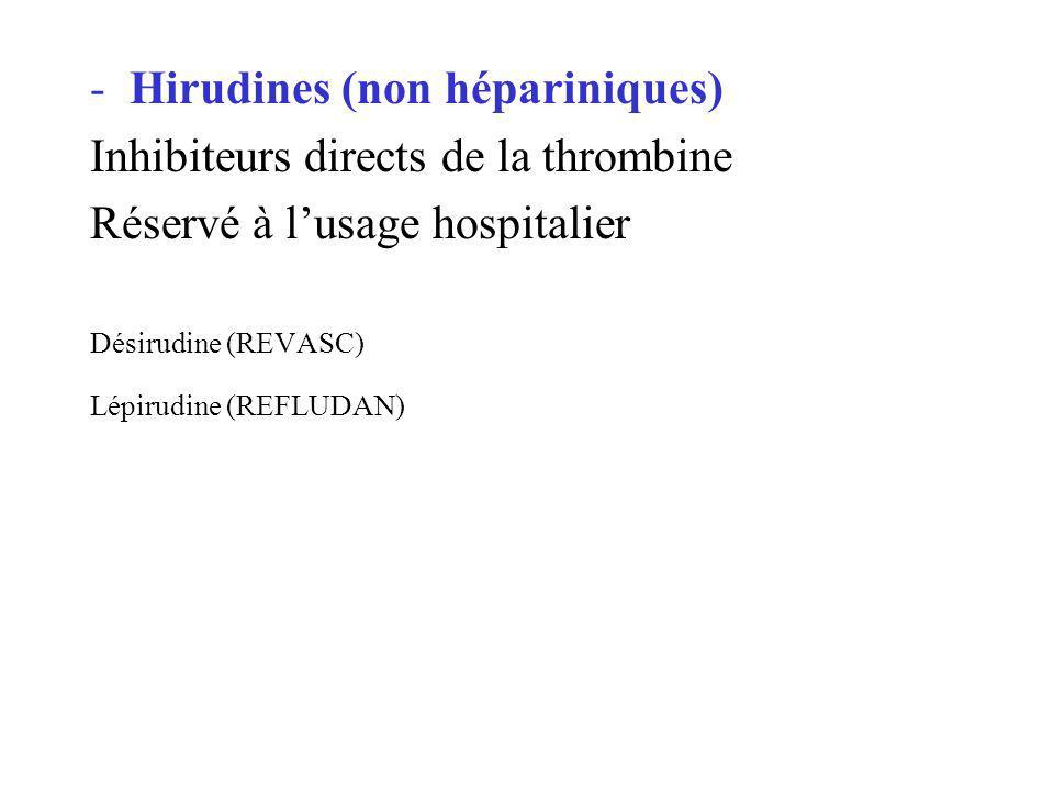 -Hirudines (non hépariniques) Inhibiteurs directs de la thrombine Réservé à lusage hospitalier Désirudine (REVASC) Lépirudine (REFLUDAN)