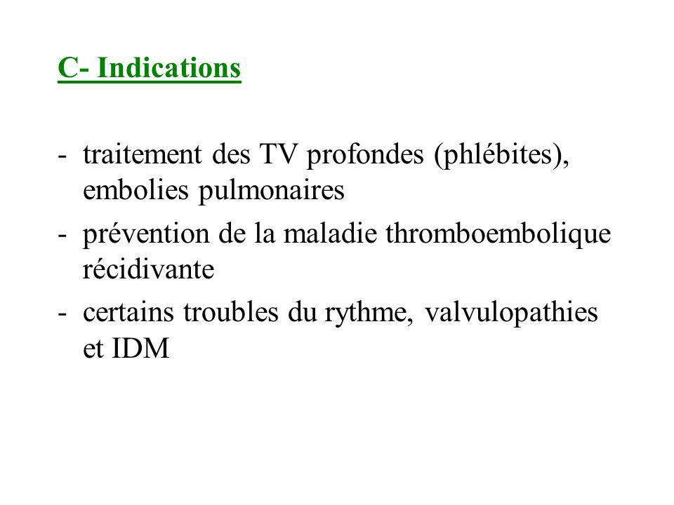 C- Indications -traitement des TV profondes (phlébites), embolies pulmonaires -prévention de la maladie thromboembolique récidivante -certains trouble