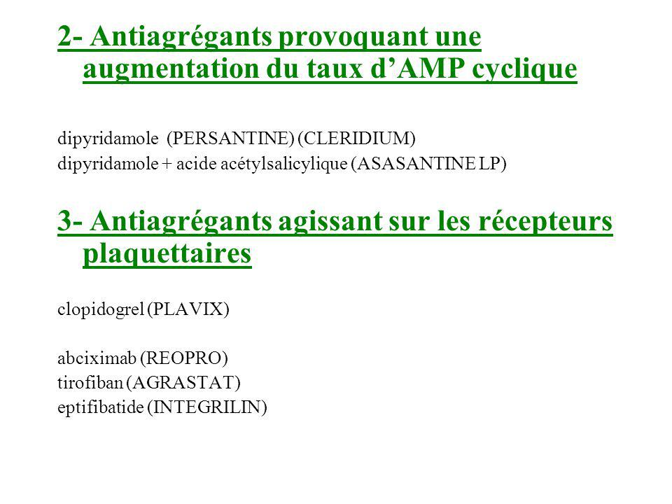 2- Antiagrégants provoquant une augmentation du taux dAMP cyclique dipyridamole (PERSANTINE) (CLERIDIUM) dipyridamole + acide acétylsalicylique (ASASA