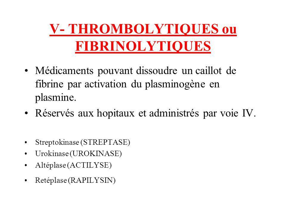 V- THROMBOLYTIQUES ou FIBRINOLYTIQUES Médicaments pouvant dissoudre un caillot de fibrine par activation du plasminogène en plasmine. Réservés aux hop