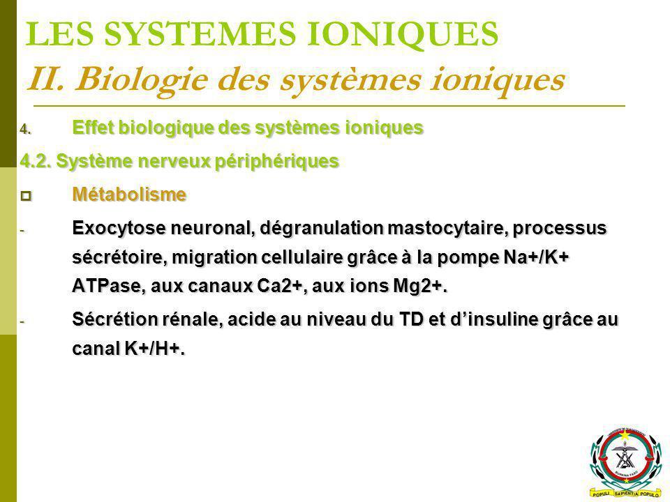 LES SYSTEMES IONIQUES II. Biologie des systèmes ioniques 4. Effet biologique des systèmes ioniques 4.2. Système nerveux périphériques Métabolisme Méta