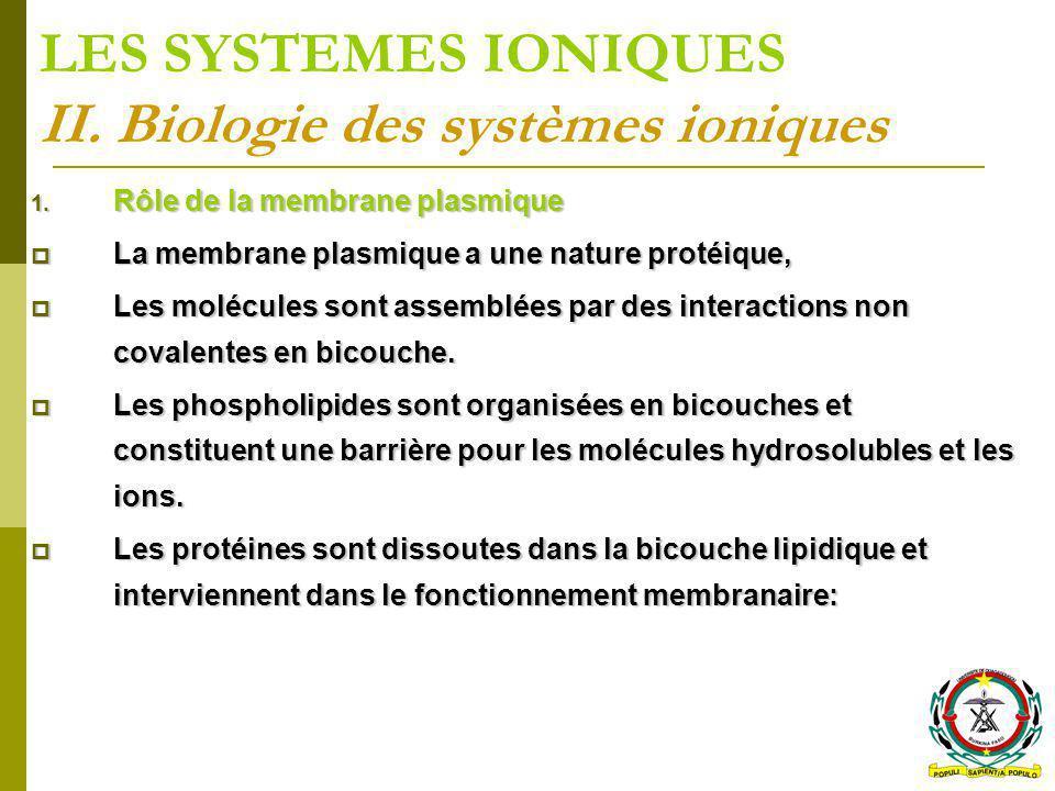 LES SYSTEMES IONIQUES II. Biologie des systèmes ioniques 1. Rôle de la membrane plasmique La membrane plasmique a une nature protéique, La membrane pl