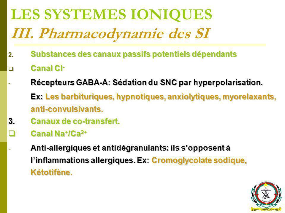 LES SYSTEMES IONIQUES III. Pharmacodynamie des SI 2. Substances des canaux passifs potentiels dépendants Canal Cl - Canal Cl - - Récepteurs GABA-A: Sé