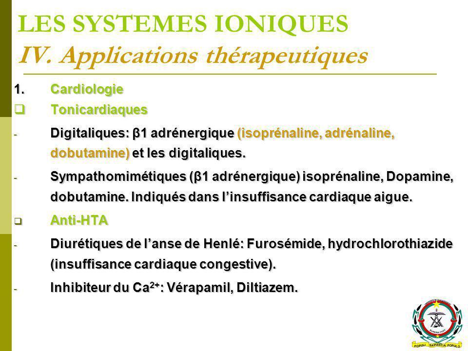 LES SYSTEMES IONIQUES IV. Applications thérapeutiques 1.Cardiologie Tonicardiaques Tonicardiaques - Digitaliques: β1 adrénergique (isoprénaline, adrén