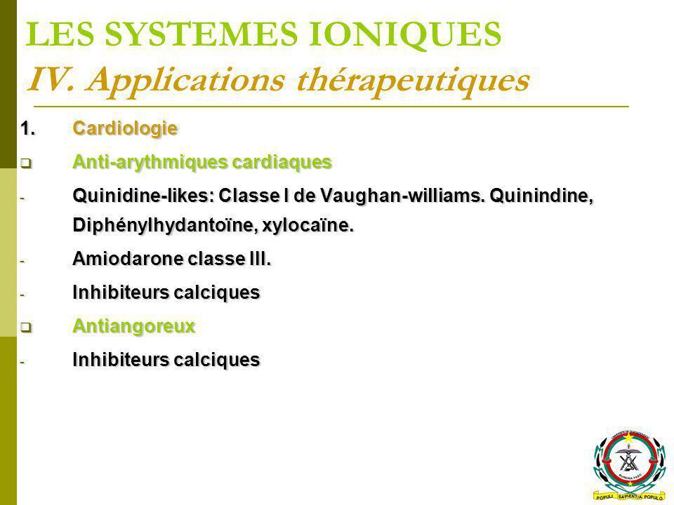 LES SYSTEMES IONIQUES IV. Applications thérapeutiques 1.Cardiologie Anti-arythmiques cardiaques Anti-arythmiques cardiaques - Quinidine-likes: Classe