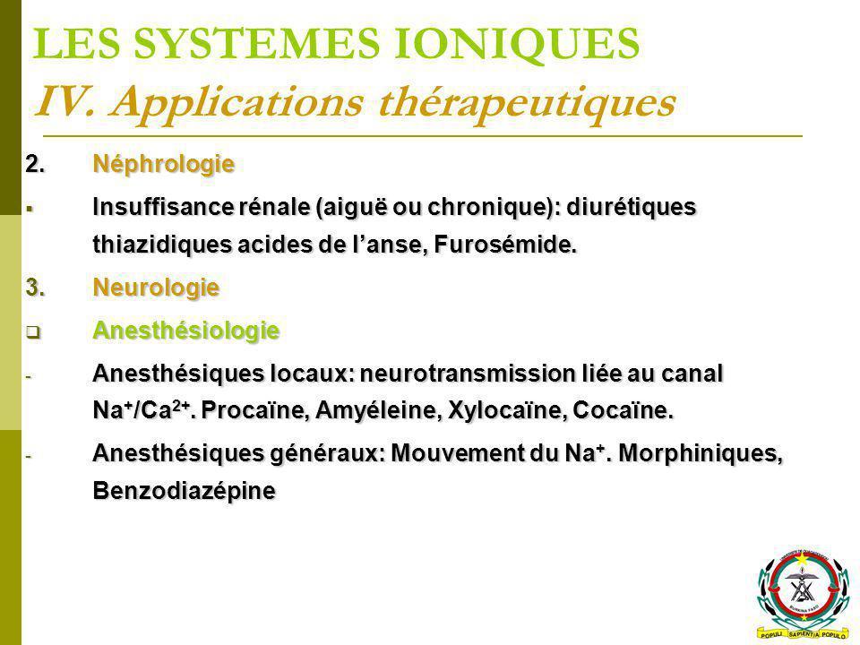 LES SYSTEMES IONIQUES IV. Applications thérapeutiques 2.Néphrologie Insuffisance rénale (aiguë ou chronique): diurétiques thiazidiques acides de lanse