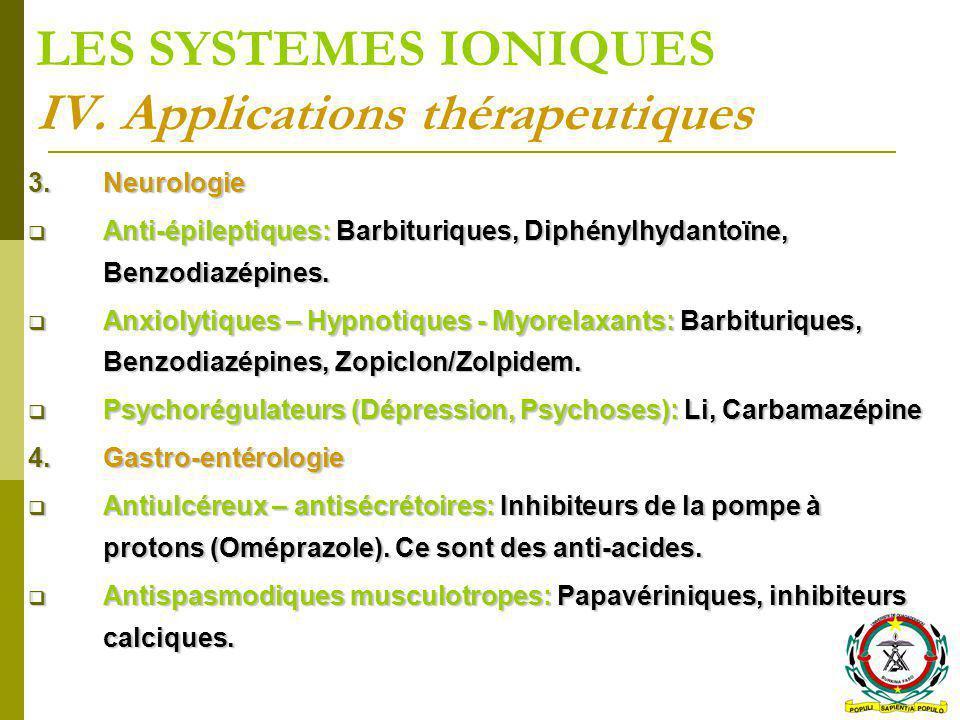 LES SYSTEMES IONIQUES IV. Applications thérapeutiques 3.Neurologie Anti-épileptiques: Barbituriques, Diphénylhydantoïne, Benzodiazépines. Anti-épilept