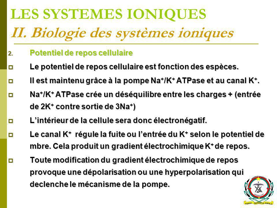 2. Potentiel de repos cellulaire Le potentiel de repos cellulaire est fonction des espèces. Le potentiel de repos cellulaire est fonction des espèces.