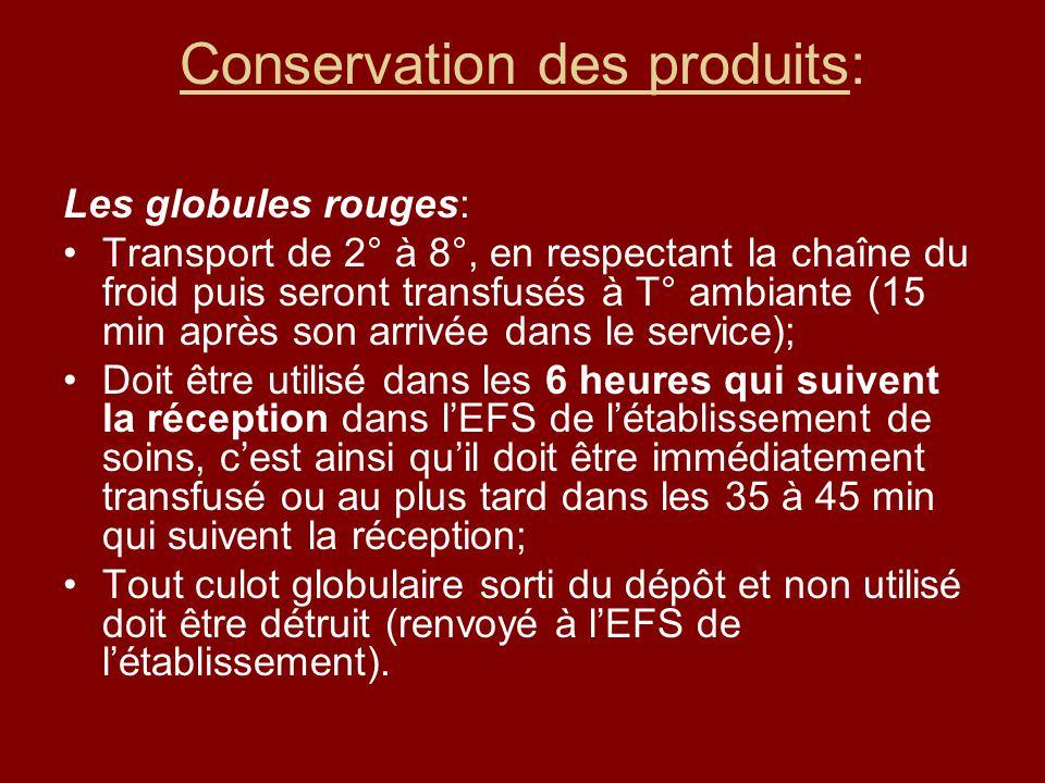 Conservation des produits: Les globules rouges: Transport de 2° à 8°, en respectant la chaîne du froid puis seront transfusés à T° ambiante (15 min ap