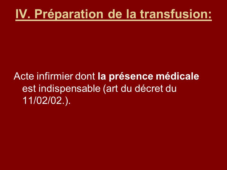 IV. Préparation de la transfusion: Acte infirmier dont la présence médicale est indispensable (art du décret du 11/02/02.).