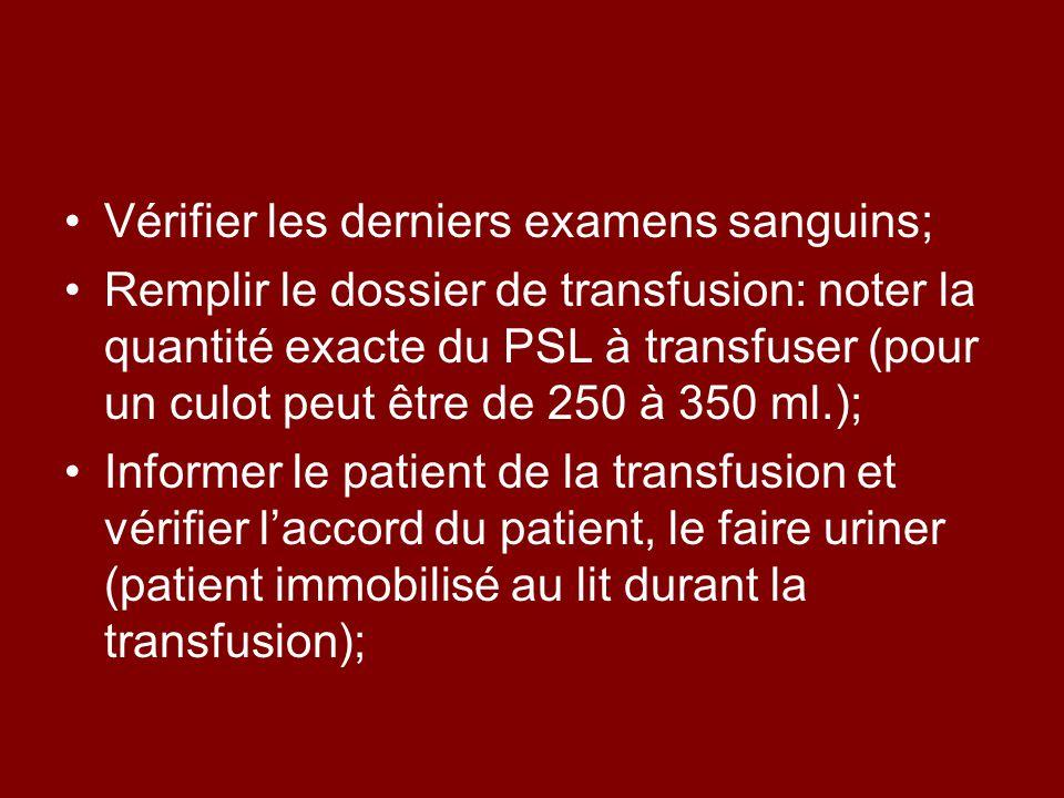 Vérifier les derniers examens sanguins; Remplir le dossier de transfusion: noter la quantité exacte du PSL à transfuser (pour un culot peut être de 250 à 350 ml.); Informer le patient de la transfusion et vérifier laccord du patient, le faire uriner (patient immobilisé au lit durant la transfusion);