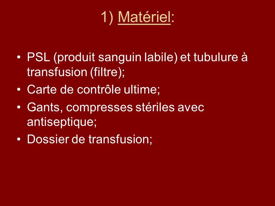 1) Matériel: PSL (produit sanguin labile) et tubulure à transfusion (filtre); Carte de contrôle ultime; Gants, compresses stériles avec antiseptique;