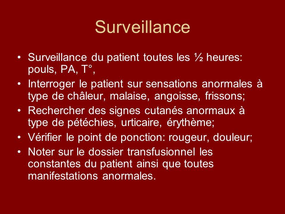 Surveillance Surveillance du patient toutes les ½ heures: pouls, PA, T°, Interroger le patient sur sensations anormales à type de châleur, malaise, an