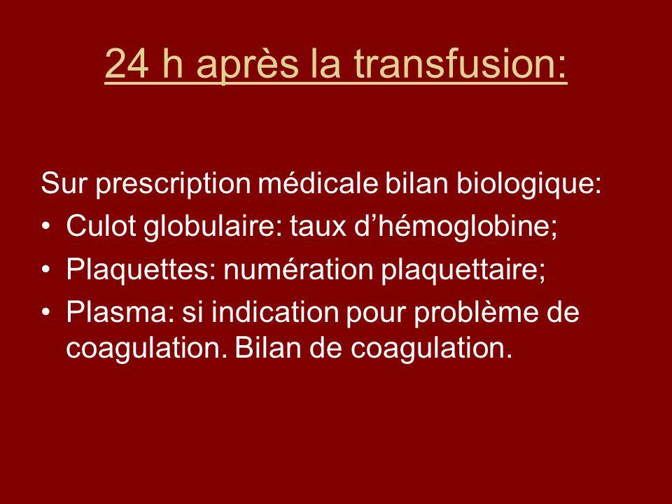 24 h après la transfusion: Sur prescription médicale bilan biologique: Culot globulaire: taux dhémoglobine; Plaquettes: numération plaquettaire; Plasma: si indication pour problème de coagulation.