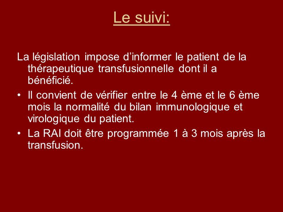 Le suivi: La législation impose dinformer le patient de la thérapeutique transfusionnelle dont il a bénéficié. Il convient de vérifier entre le 4 ème