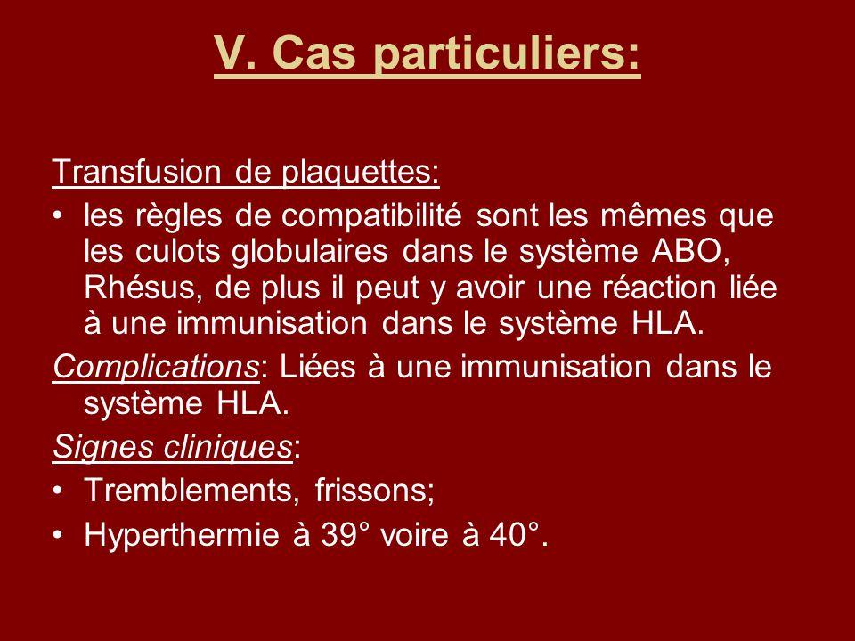 V. Cas particuliers: Transfusion de plaquettes: les règles de compatibilité sont les mêmes que les culots globulaires dans le système ABO, Rhésus, de