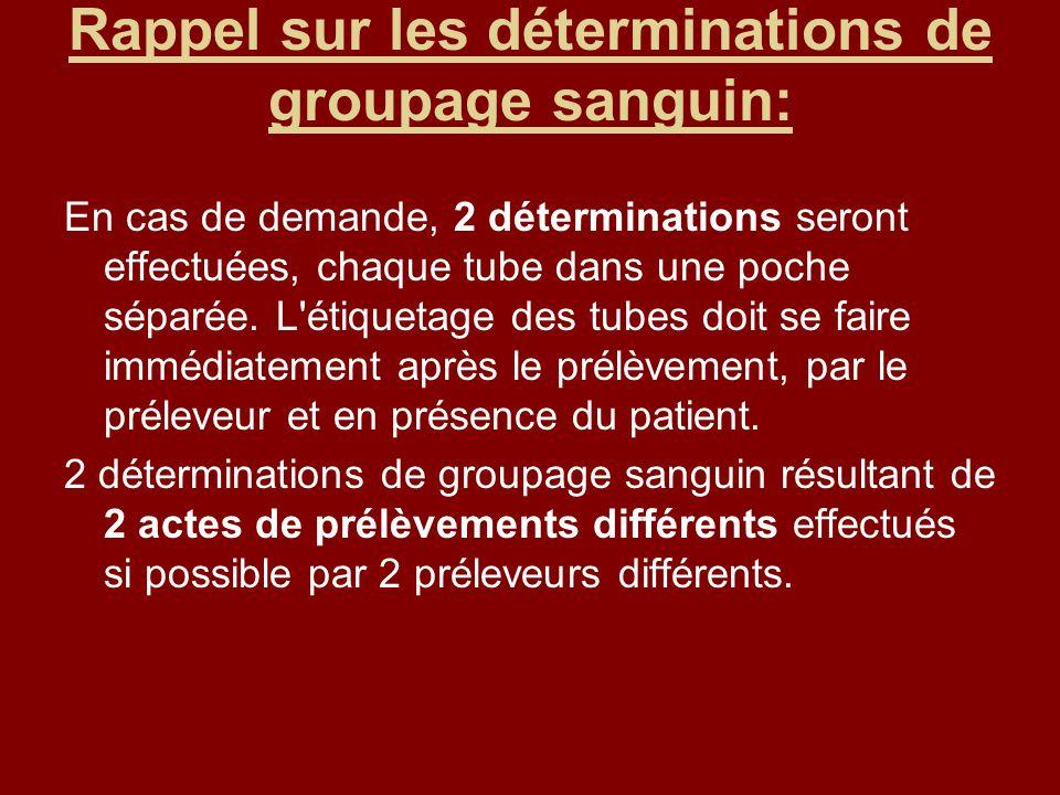 Rappel sur les déterminations de groupage sanguin: En cas de demande, 2 déterminations seront effectuées, chaque tube dans une poche séparée.