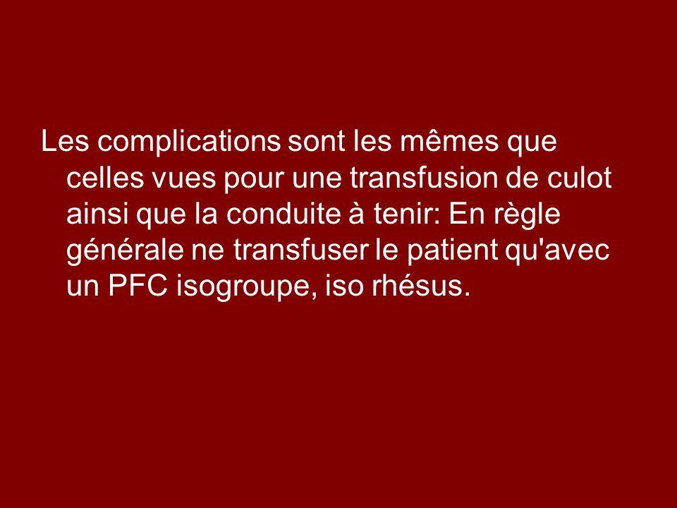 Les complications sont les mêmes que celles vues pour une transfusion de culot ainsi que la conduite à tenir: En règle générale ne transfuser le patie