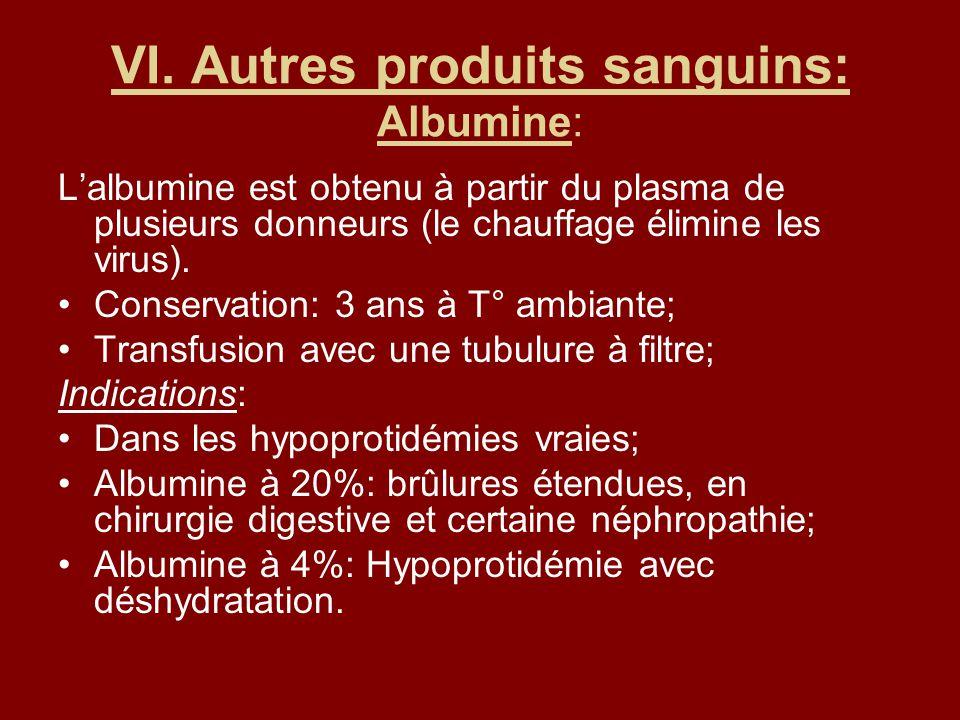 VI. Autres produits sanguins: Albumine: Lalbumine est obtenu à partir du plasma de plusieurs donneurs (le chauffage élimine les virus). Conservation: