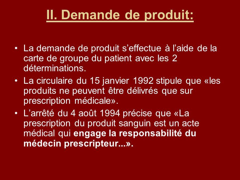 II. Demande de produit: La demande de produit seffectue à laide de la carte de groupe du patient avec les 2 déterminations. La circulaire du 15 janvie
