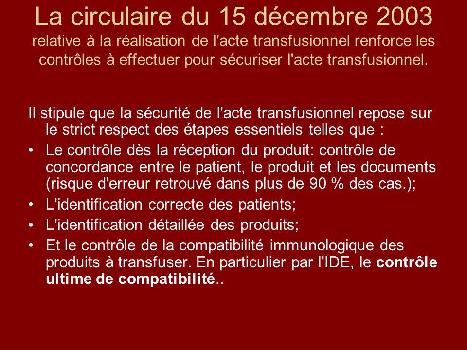 La circulaire du 15 décembre 2003 relative à la réalisation de l'acte transfusionnel renforce les contrôles à effectuer pour sécuriser l'acte transfus