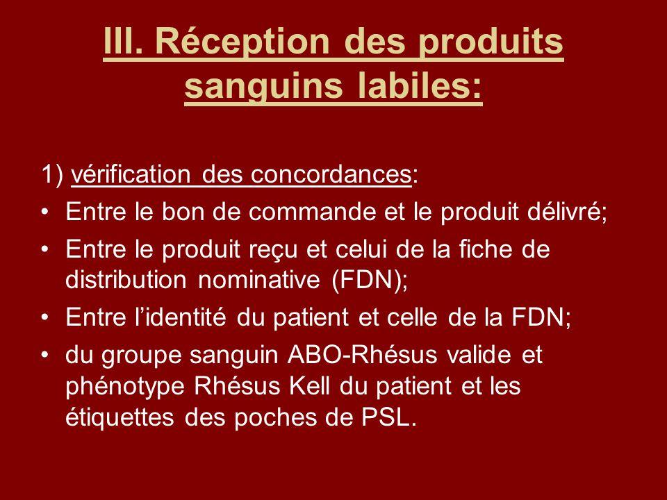 III. Réception des produits sanguins labiles: 1) vérification des concordances: Entre le bon de commande et le produit délivré; Entre le produit reçu