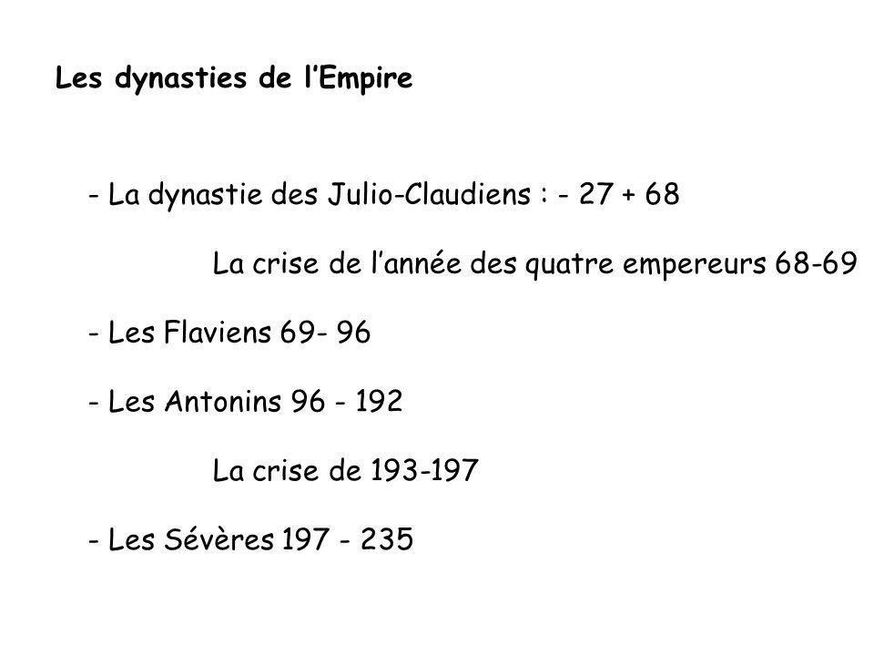 Les dynasties de lEmpire - La dynastie des Julio-Claudiens : - 27 + 68 - Les Flaviens 69- 96 La crise de lannée des quatre empereurs 68-69 - Les Anton
