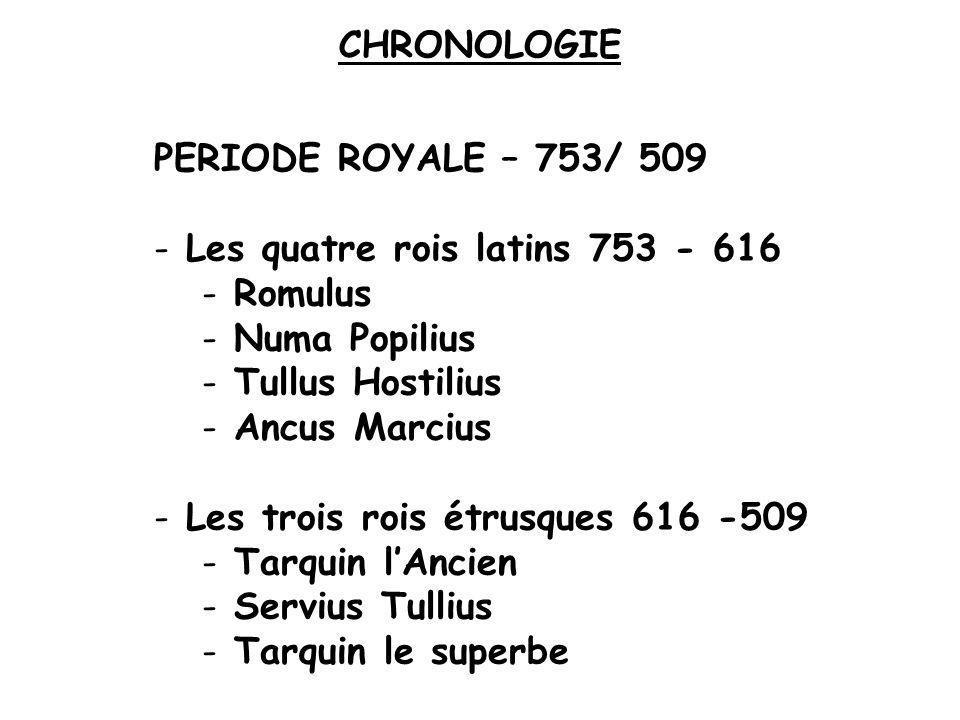 CHRONOLOGIE PERIODE ROYALE – 753/ 509 - Les quatre rois latins 753 - 616 - Romulus - Numa Popilius - Tullus Hostilius - Ancus Marcius - Les trois rois