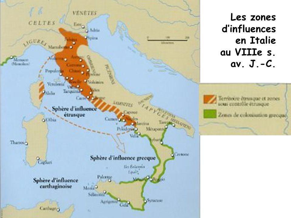 Les zones dinfluences en Italie au VIIIe s. av. J.-C.