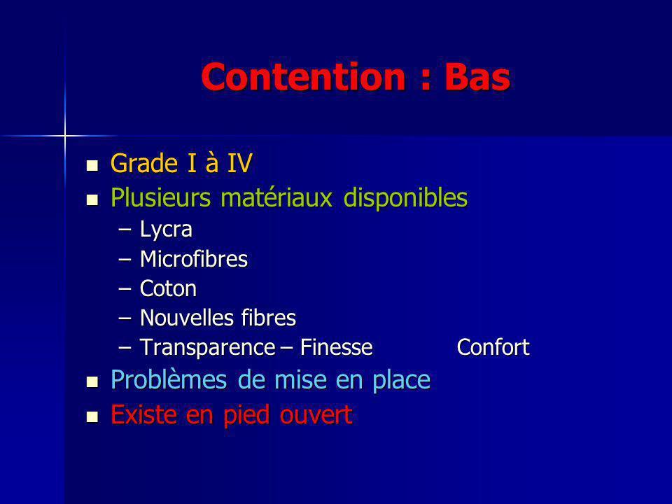 Contention : Bas Grade I à IV Grade I à IV Plusieurs matériaux disponibles Plusieurs matériaux disponibles –Lycra –Microfibres –Coton –Nouvelles fibre