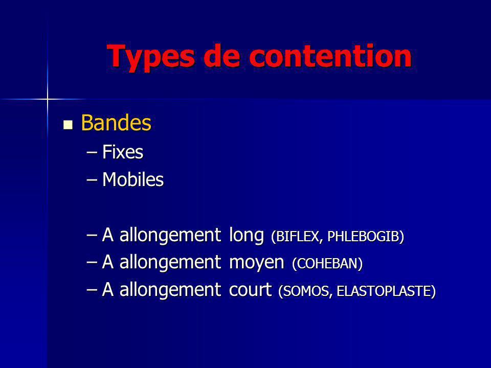 Types de contention Bas Bas –Jarrets –Cuisses –Collants Mousses Mousses