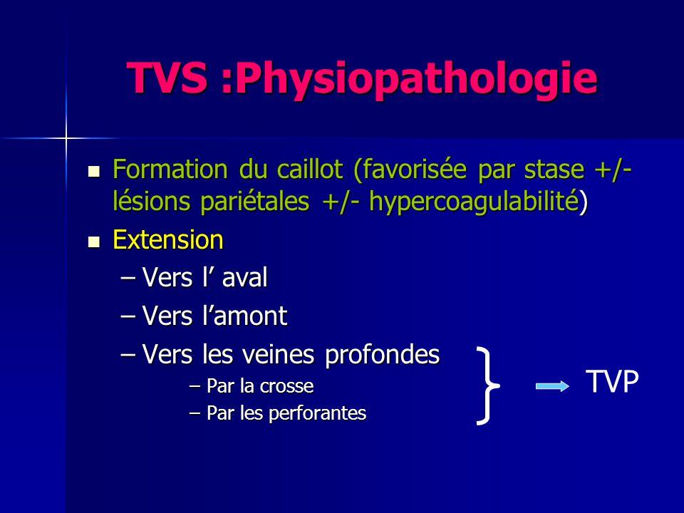 TVS : TTT chirurgical Cas particulier fréquent Cas particulier fréquent –Thrombus de la grande saphène atteignant la crosse et sétendant à la veine fémorale commune –Indication possible de crossectomie de la grande saphène + thrombectomie +/- éveinage de la grande saphène : bénéfice non démontré VFC VGS