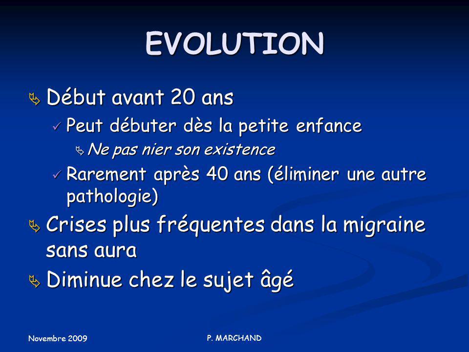 Novembre 2009 P. MARCHAND EVOLUTION Début avant 20 ans Début avant 20 ans Peut débuter dès la petite enfance Peut débuter dès la petite enfance Ne pas