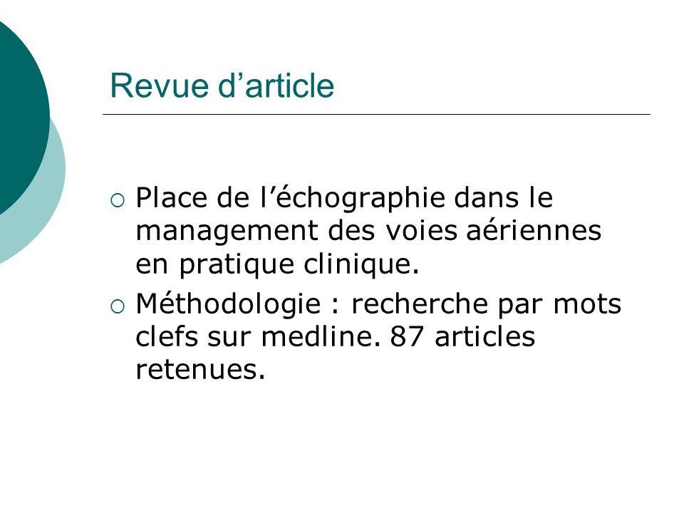 Revue darticle Place de léchographie dans le management des voies aériennes en pratique clinique. Méthodologie : recherche par mots clefs sur medline.