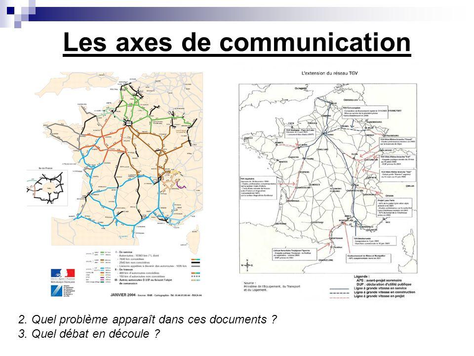 Les axes de communication 2. Quel problème apparaît dans ces documents ? 3. Quel débat en découle ?