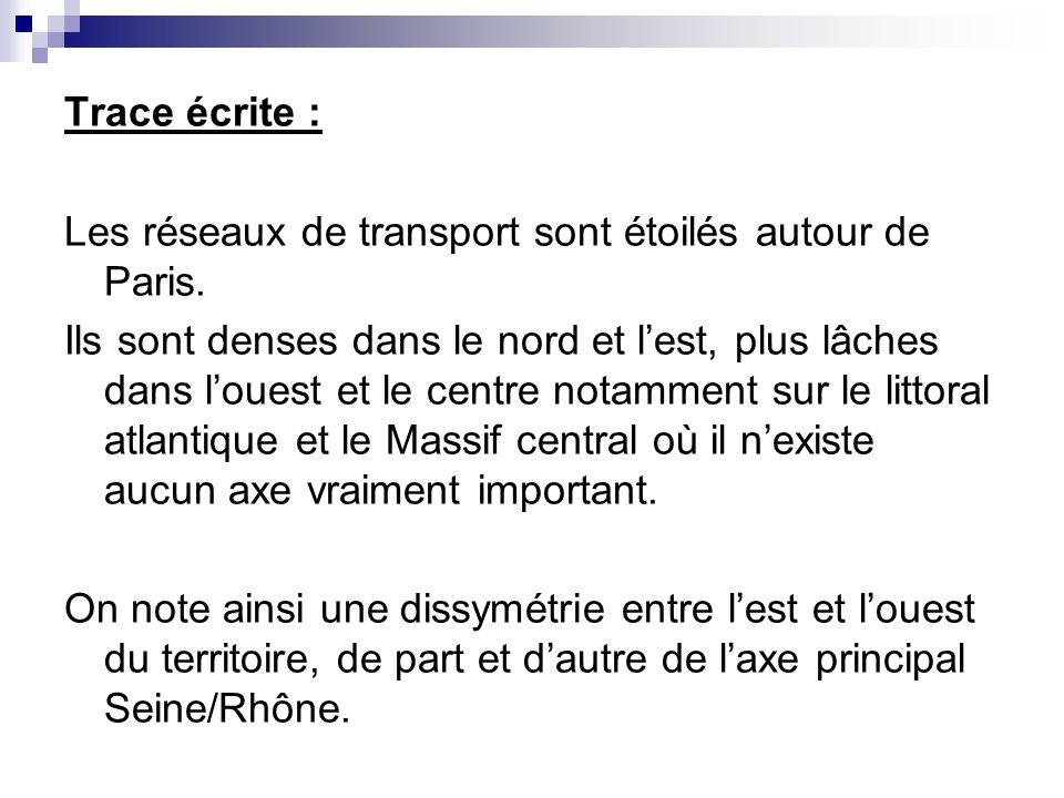 Trace écrite : Les réseaux de transport sont étoilés autour de Paris. Ils sont denses dans le nord et lest, plus lâches dans louest et le centre notam