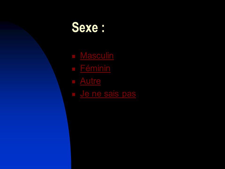 Sexe : Masculin Féminin Autre Je ne sais pas