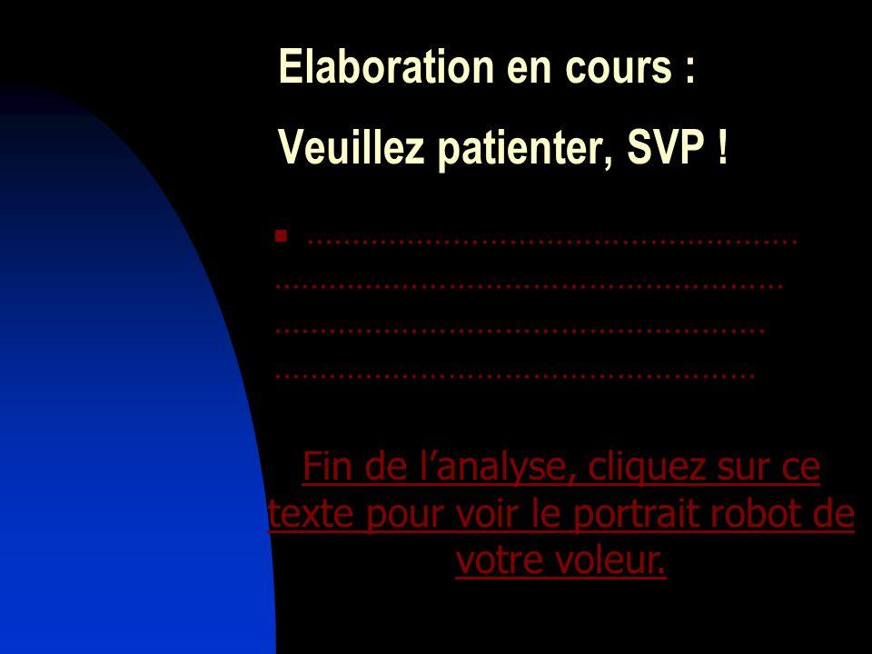 Elaboration en cours : Veuillez patienter, SVP !.....................................................................................................................................................................................................................