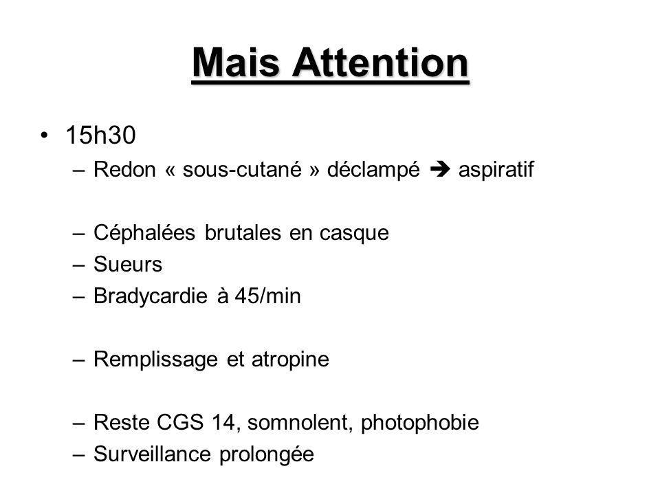 Mais Attention 15h30 –Redon « sous-cutané » déclampé aspiratif –Céphalées brutales en casque –Sueurs –Bradycardie à 45/min –Remplissage et atropine –Reste CGS 14, somnolent, photophobie –Surveillance prolongée
