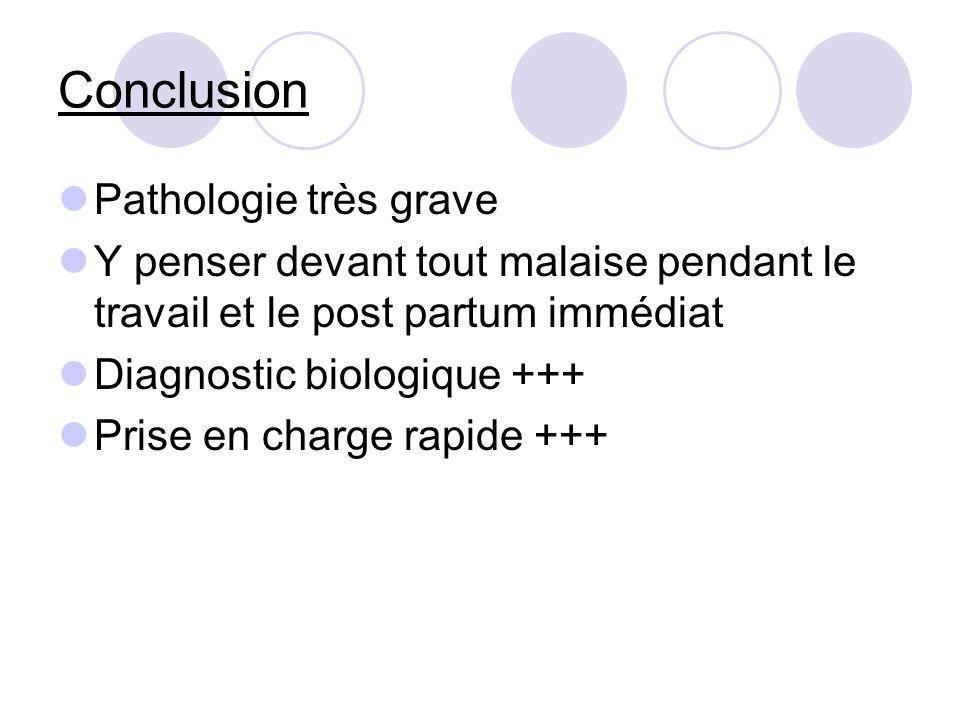 Conclusion Pathologie très grave Y penser devant tout malaise pendant le travail et le post partum immédiat Diagnostic biologique +++ Prise en charge