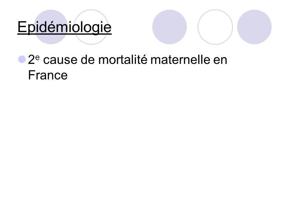 Epidémiologie 2 e cause de mortalité maternelle en France
