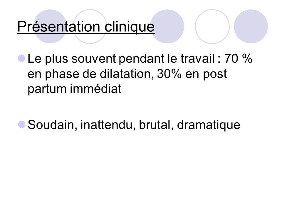 Présentation clinique Le plus souvent pendant le travail : 70 % en phase de dilatation, 30% en post partum immédiat Soudain, inattendu, brutal, dramat