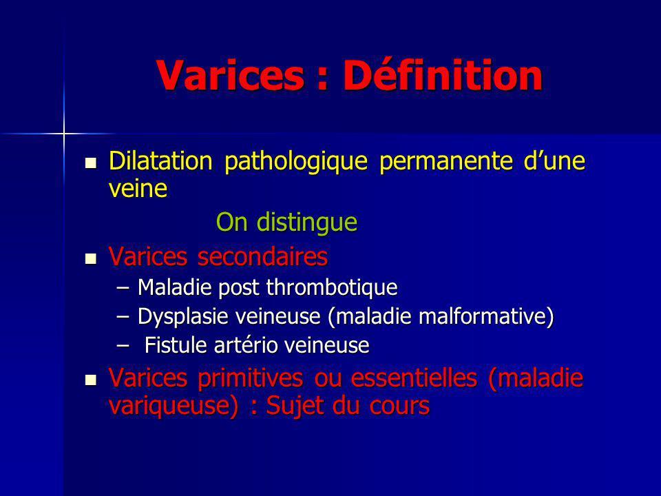 Maladie variqueuse : Physiopathologie Incomplètement expliquée, fait intervenir à lorigine une altération de la paroi veineuse par des phénomènes inflammatoires Incomplètement expliquée, fait intervenir à lorigine une altération de la paroi veineuse par des phénomènes inflammatoires Deux composantes Deux composantes Dilatation veineuse Incontinence veineuse (incompétence valvulaire) Entrainent des phénomènes de stase veineuse Entrainent des phénomènes de stase veineuse Etiologie .