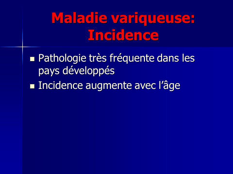 Maladie variqueuse: Incidence Pathologie très fréquente dans les pays développés Pathologie très fréquente dans les pays développés Incidence augmente avec lâge Incidence augmente avec lâge