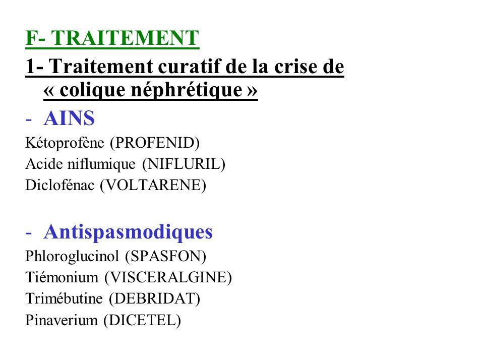F- TRAITEMENT 1- Traitement curatif de la crise de « colique néphrétique » -AINS Kétoprofène (PROFENID) Acide niflumique (NIFLURIL) Diclofénac (VOLTAR